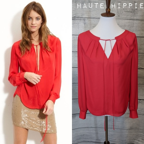 Haute Hippie Silk peasant blouse in Fire 🔥 Red